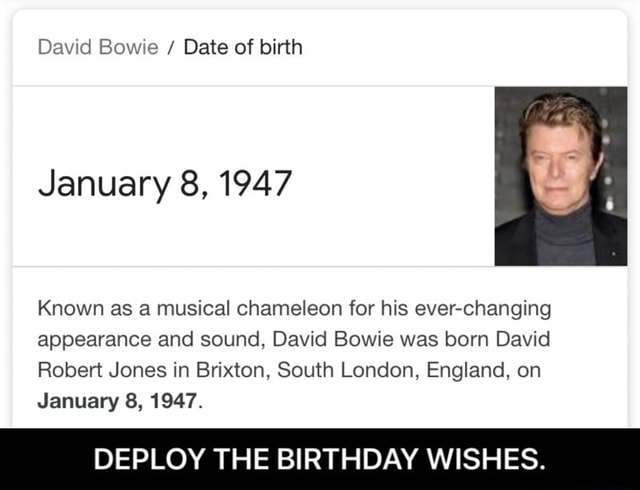 David Bowie Date of birth January 8, 1947 Known as a musical chameleon for his ever changing appearance and sound, David Bowie was born David Robert Jones in Briton, South London, England, on January 8, 1947. DEPLOY THE BIRTHDAY WISHES. DEPLOY THE BIRTHDAY WISHES memes
