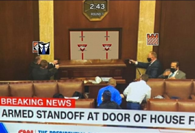 ROUND of BREAKING NEWS ARMED STANDOFF AT DOOR OF HOUSE F meme