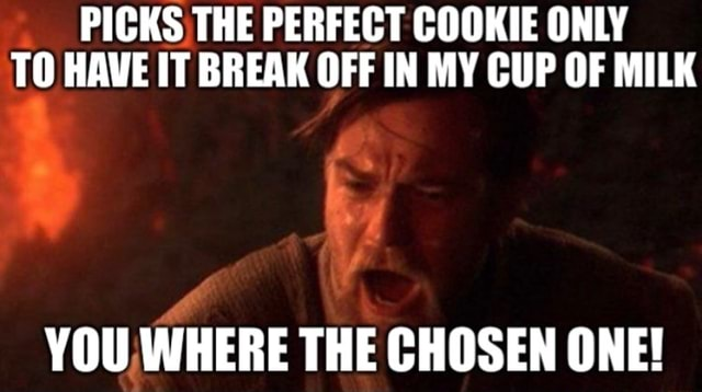 PICKS THE PERFECT COOKIE ONLY TO HAVE IT BREAK OFF IN MY CUP OF MILK YOU WHERE THE CHOSEN ONE meme