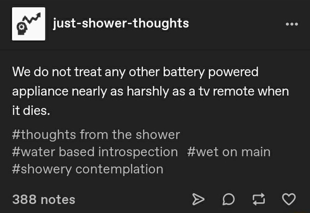 We do not treat any other battery powered appliance nearly as harshly as a tv remote when it dies. thoughts from the shower water based introspection wet on main showery contemplation 388 notes memes