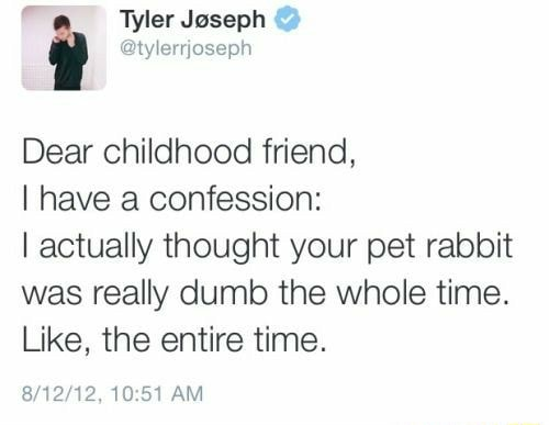 Tyler Joseph Dear childhood friend, I have a confession I actually thought your pet rabbit was really dumb the whole time. Like, the entire time. AM meme