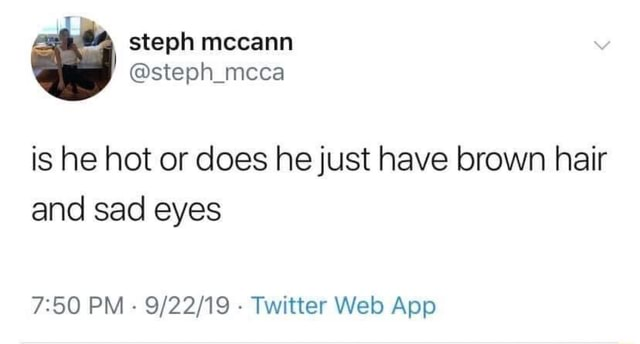 Steph mccann steph mcca is he hot or does he just have brown hair and sad eyes PM Twitter meme