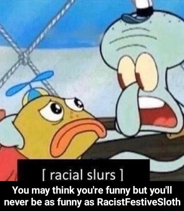 Racial slurs You may think you're funny but you'll never be as funny as RacistFestiveSloth You may think you're funny but you'll never be as funny as RacistFestiveSloth meme