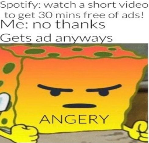Spotify watch a short to get 30 mins free of ads Me no thanks Gets ad anyways ANGERY memes