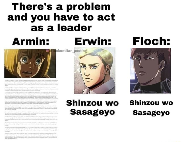 There's a problem and you have to act as a leader Erwin ye Floch Shinzou we Shinzou wo Sasageyo memes