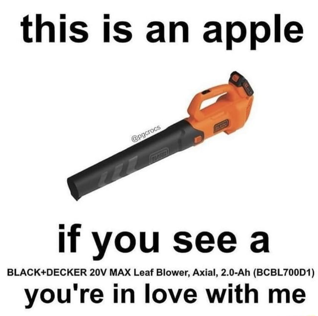 This is an apple if you see a BLACK*DECKER MAX Leaf Blower, Axial, 2.0 Ah BCBL700D1 you're in love with me memes