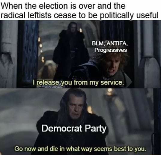 When the election is over and the radical leftists cease to be politically use BLM, ANTIFA, Progressives release you from my service Democrat Party Go now and die in what way seems best to you memes