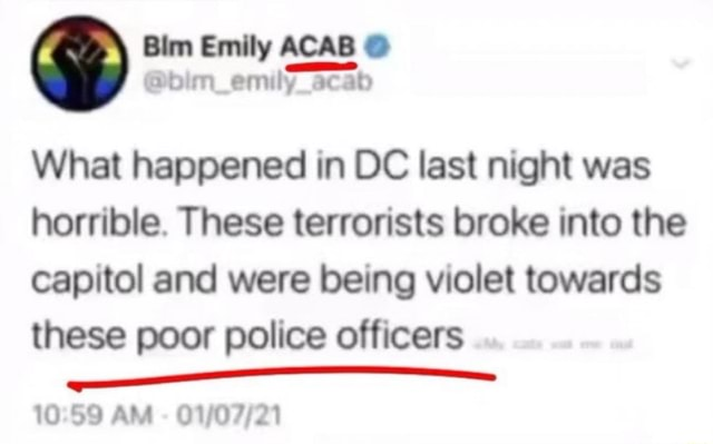 Bim Emily ACAB dim emily acab What happened in DC last night was horrible. These terrorists broke into the capitol and were being violet towards these poor police officers AM memes