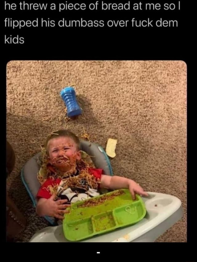 He threw a piece of bread at me so I flipped his dumbass over fuck dem kids meme