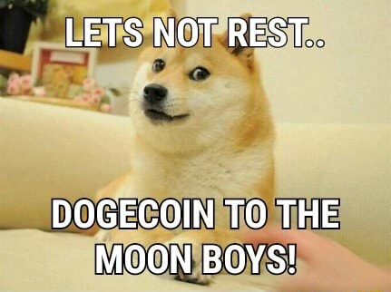 LETS NOT REST DOGECOIN TO THE MOON BOYS memes