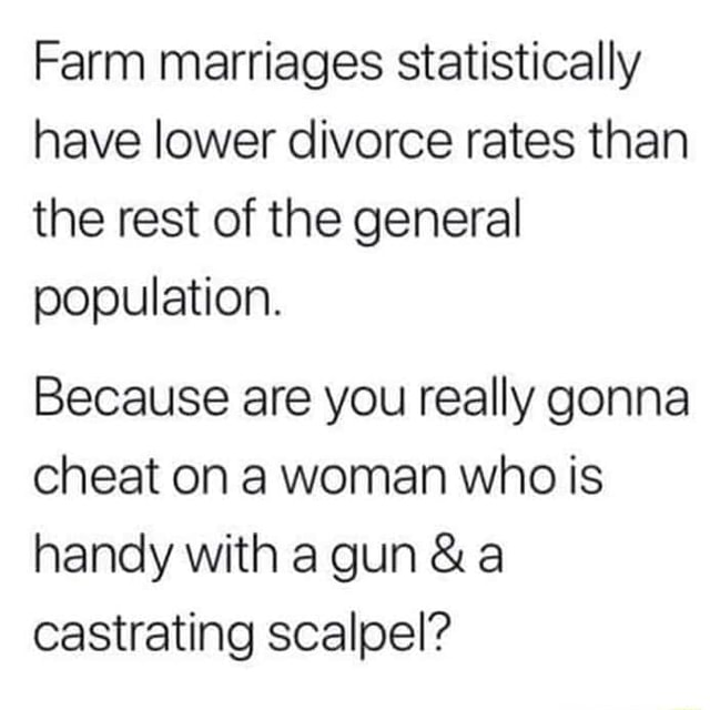 Farm marriages statistically have lower divorce rates than the rest of the general population. Because are you really gonna cheat on a woman who is handy with a gun  and a castrating scalpel memes