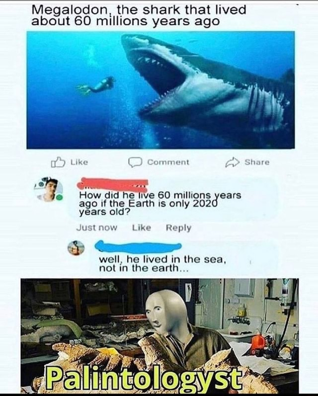 Megalodon, the shark that lived about 60 millions years ago IN Like Comment Share How did he live 60 millions years ago if the Earth is only 202 years old Just now Like Reply well, he lived in the sea, not in the earth memes