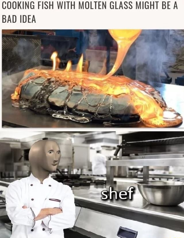 COOKING FISH WITH MOLTEN GLASS MIGHT BE A BAD IDEA meme