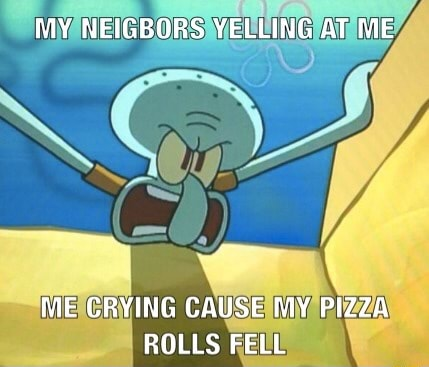 MY NEIGBORS YELLING AT ME ME CRYING CAUSE MY PIZZA ROLLS FELL meme
