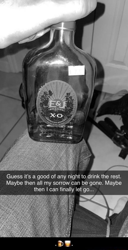 Guess it's a good of any night to drink the rest. Maybe then all my sorrow can be gone. Maybe then can finally let go  . meme