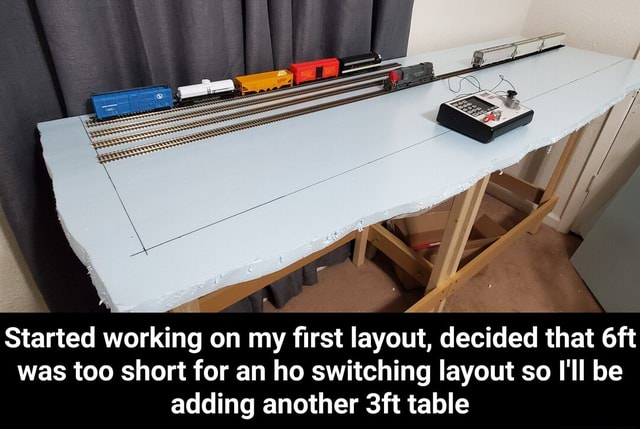 Started working on my first layout, decided that was too short for an ho switching layout so I'll be adding another table  Started working on my first layout, decided that 6ft was too short for an ho switching layout so I'll be adding another 3ft table memes