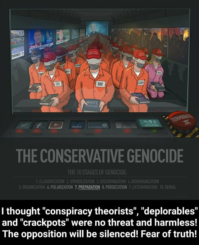 THE CONSERVATIVE GENOCIDE 6. POLARIZATION 7. PREPARATION 8. PERSECUTION thought conspiracy theorists , deplorables and crackpots were no threat and harmless The opposition will be silenced Fear of truth I thought conspiracy theorists , deplorables and crackpots were no threat and harmless The opposition will be silenced Fear of truth memes