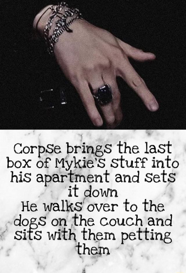 CorpSe. brings the last box of Mykie'S Stuff into his apartment and Sets it down He walks over to the dogs on the couch and Sits with them petting them meme