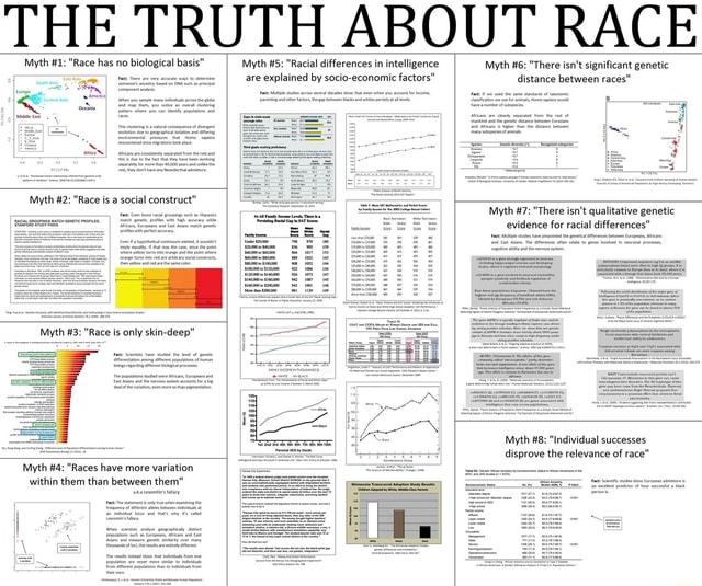 THE TRUTH ABOUT RACE Myth 1 Race has no biological basi Myth 2 Race is a social constru Race is only skin deep Myth Myth Racial differences in intelligence are explained by socio economic factors Myth 6 There isn't significant genetic distance between races Myth 4 Races have more variation within them than between them Myth 7 There isn't qualitative genetic evidence for racial differences Myth 8 Individual successes disprove the relevance of race memes