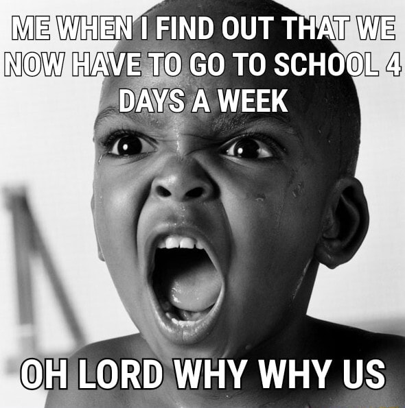 EN I FIND OUT THAT WE INOW HAVE TO GO TO SCHOOL 4 DAYS A WEEK OH LORD WHY WHY US meme