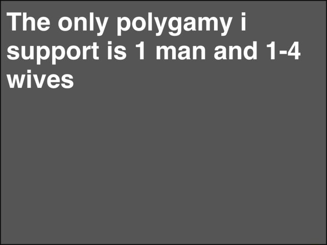 The only polygamy support is man and 1 4 wives memes