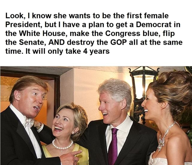 Look, know she wants to be the first female President, but have a plan to get a Democrat in the White House, make the Congress blue, flip the Senate, AND destroy the GOP all at the same time. It will only take 4 years memes