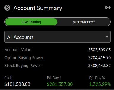 Account Summary All Accounts Account Value $302,509.63 Option Buying Power $204,415.70 Stock Buying Power $408,643.82 Cash PILDays PIL Day 404 coono nes meme
