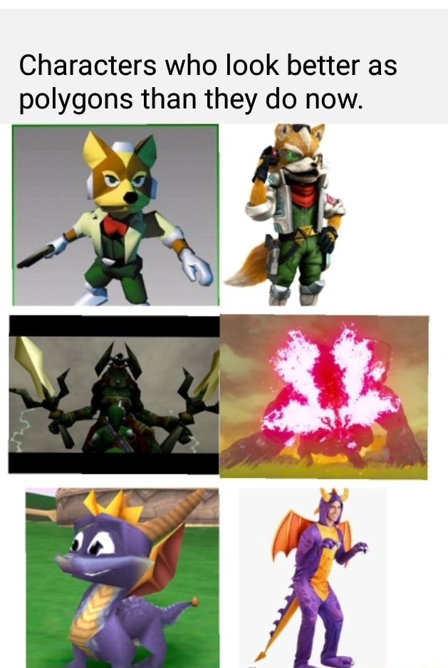 Characters who look better as polygons than they do now. Re memes
