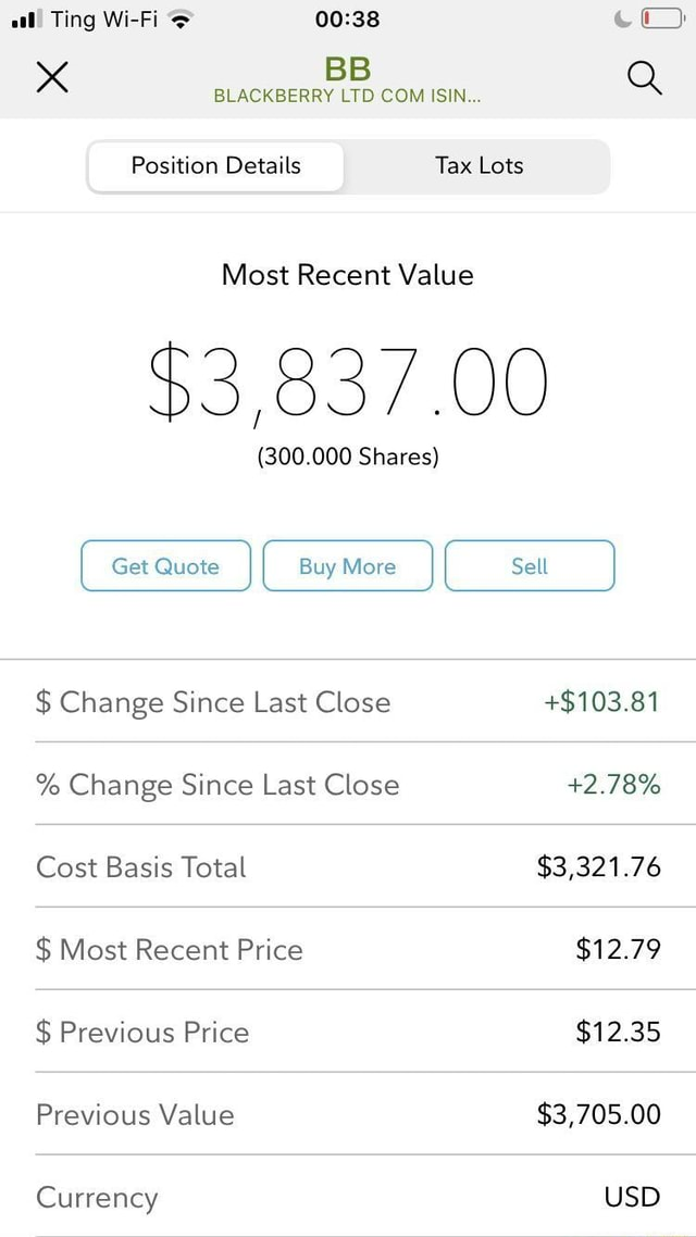 Aal Ting Wi Fi Xx BLACKBERRY LTD COM ISIN Q Position Details Tax Lots Most Recent Value $3,837.00 300.000 Shares I Get Quote I I Buy More I I Sell I $ Change Since Last Close $103.81 % Change Since Last Close 2.78% Cost Basis Total $3,321.76 $ Most Recent Price $12.79 $ Previous Price $12.35 Previous Value $3,705.00 Currency USD memes
