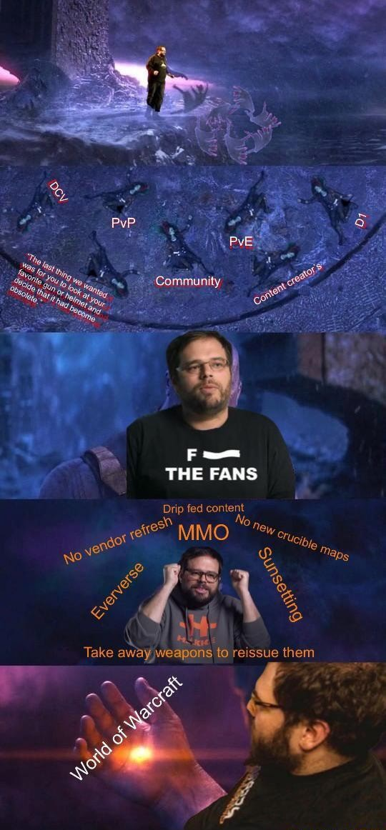 Cammunity. F  THE FANS Drip fed content MMO Take away weapons to reissue them meme