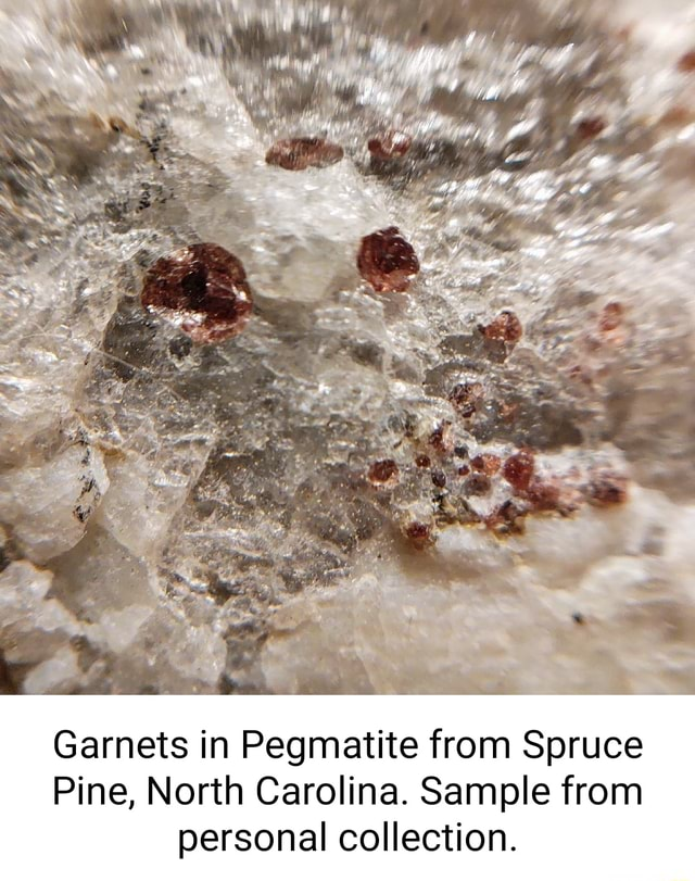 Ad Se Garnets in Pegmatite from Spruce Pine, North Carolina. Sample from personal collection memes