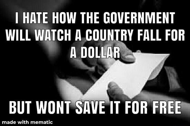 I HATE HOW THE GOVERNMENT WILL WATCH A COUNTRY FALL FOR made BUT WONT SAVE IT FOR FREE made with memat memes
