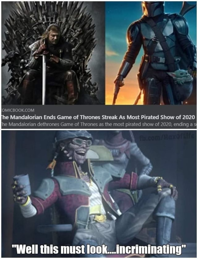 The Mandalorian Ends Game of Thrones Streak As Most Pirated Show of 2020 he Mandalorian dethrones Game of Thrones as the most pirated show of 2020, ending a sI Well this must look incriminating I memes