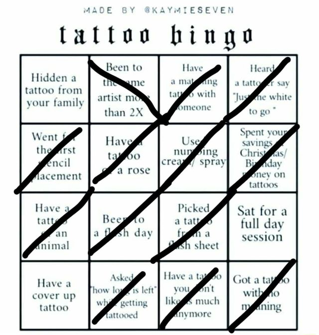 MAD Y KAYMIESEVER tattoo bingo Hidden a tattoo from your family Spray Sat for a full day session Have cover up tattoo attooed meme