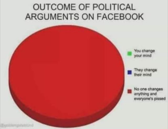 OUTCOME OF POLITICAL ARGUMENTS ON FACEBOOK You change your mind They change thew mind No one changes anything and evoryone's pissed meme