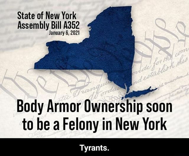 State of New York Assembly Bill A352 January 6, 2021 Body Armor Ownership soon to be a Felony in New York Tyrants. Tyrants memes