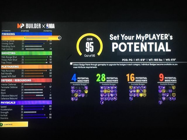 BUILDER NBA ATTRIBUTE STARTING POTENTIAL FINISHING OVR Set Your MyPLAYER's ove et Your Driving Dunk BA Standing Dunk Post Control 28 SHOOTING ES Out of 95 Mid Range Shot 25 195 Three Point Shot 25 92 POS PG I HT 6'8 I WT 185 Ibs I WS 6'8 Unlock Badge Points through gomeplay to upgrade the badges in each category. Individual Badges become available os you PLAY MAKING meet Atibute requirerents, Pass Accurocy 25 92 Ball Handle 80 Speed With Ball 82 REBOUNDING POTENTIAL 2 POTENTIAL 1 POTENTIAL POTENTIAL BADGE PORTS DEFENSE REBOUNDING BADGE POINTS BADGE POINTS BADGE POINTS BADGE POINTS Interior Defense Available Badges Available Badges Available Badges Availoble Badges Perimeter Defense 25 87 DHA Wig vO Steal 25 Offensive Rebound 25 61 88 Defensive Rebound PHYSICALS Speed Acceleration Strengt