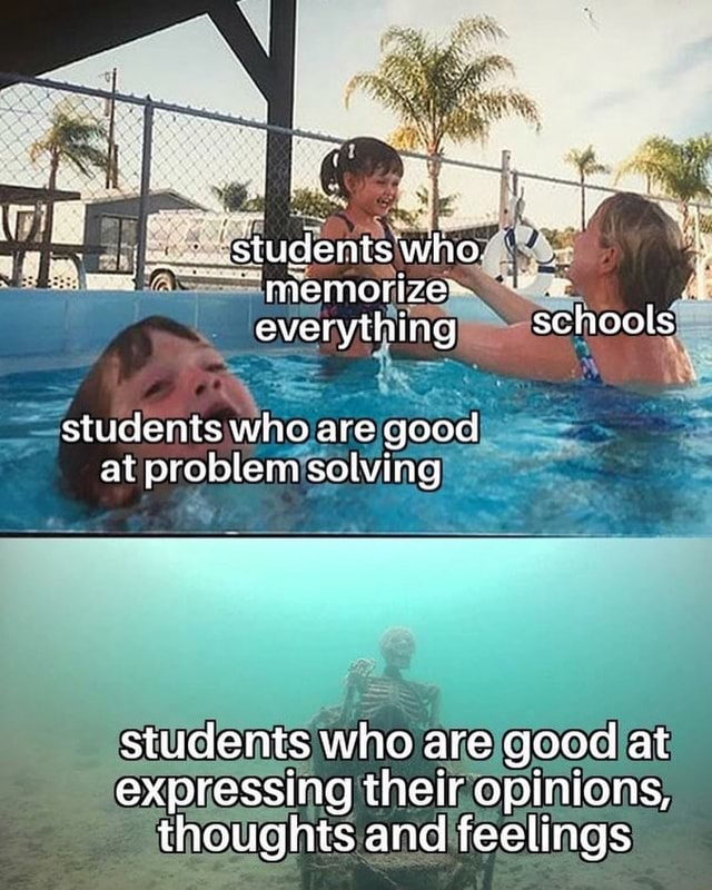 Studentswho. memorizes everything schools students who are good at problem solving students who are good at expressing their opinions, thoughts and feelings meme