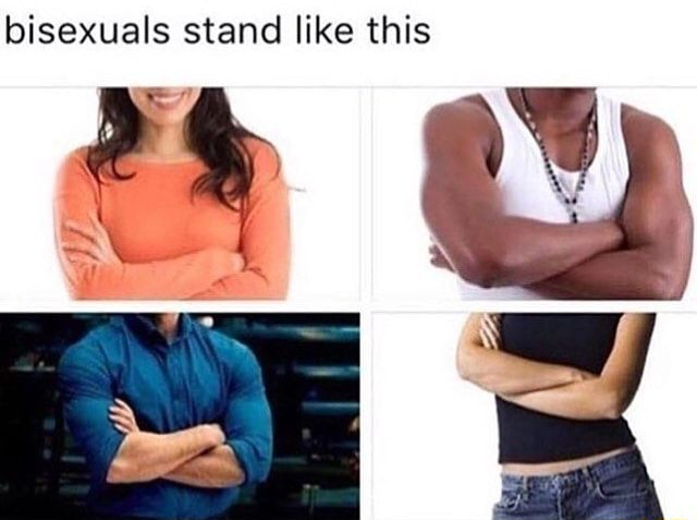 Bisexuals stand like this meme