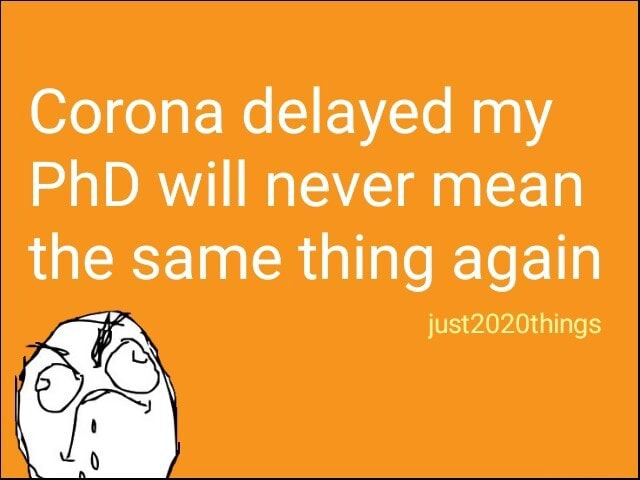 Corona delayed my PhD will never mean the same thing again just2020things meme