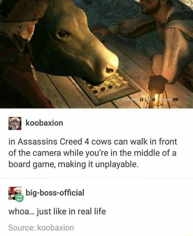 Koobaxion in Assassins Creed 4 cows can walk in front of the camera while you're in the middle of a board game, making it unplayable. big boss officlal whoa just like in real life Source koobaxion memes