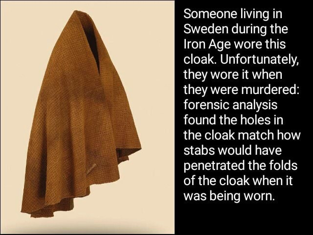 Someone living in Sweden during the Iron Age wore this cloak. Unfortunately, they wore it when they were murdered forensic analysis found the holes in the cloak match how stabs would have penetrated the folds of the cloak when it was being worn meme