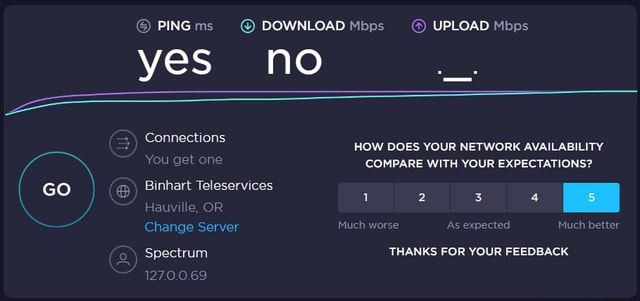 PING ms yes PING DOWNLOAD Mbps  UPLOAD Mbps no Connections You get one GO HOW DOES YOUR NETWORK AVAILABILITY COMPARE WITH YOUR EXPECTATIONS Binhart Teleservices Hauville, OR Change Server Spectrum 1270.00.69 Much worse As expected Much better THANKS FOR YOUR FEEDBACK meme