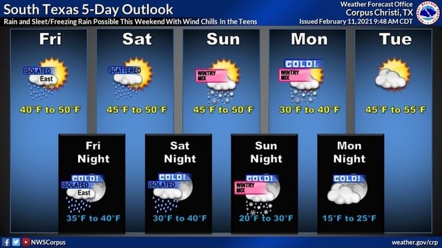 South Texas 5 Day Outlook Rain and Rain Possible This Weekend With Wind Chill In the Teens Issued February AM CDT Fri Sat Sun Mon Tue Weather Forecast Office Corpus Christi, TX Issued February 11,2021 AMCDT Mon Tue 30 Fito40, Fri Sat Sun Mon Night Night Night Night corr coco coup 19 Nwscorpus weather govlerp memes