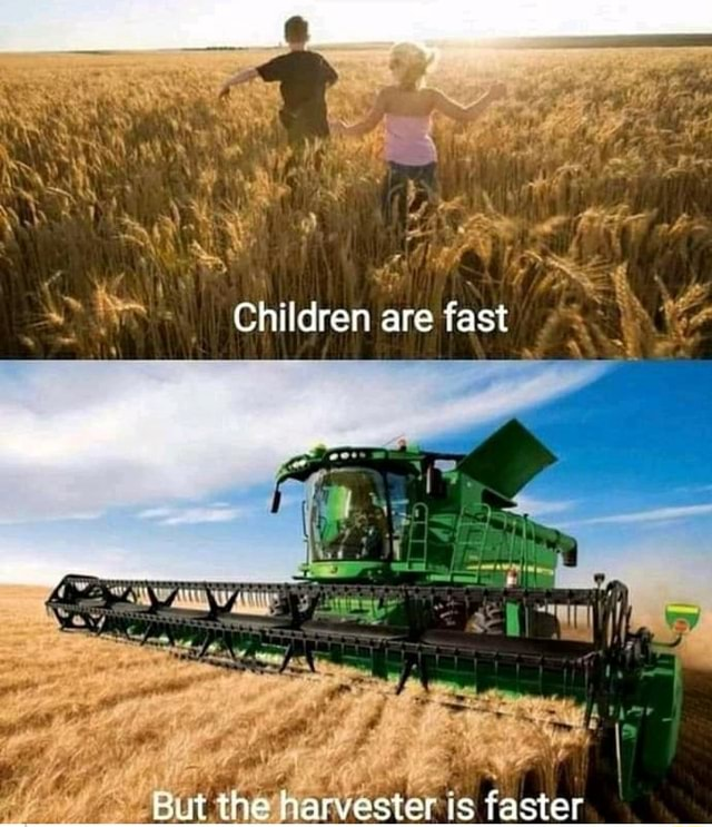Children are fast ut the harvester is faster memes