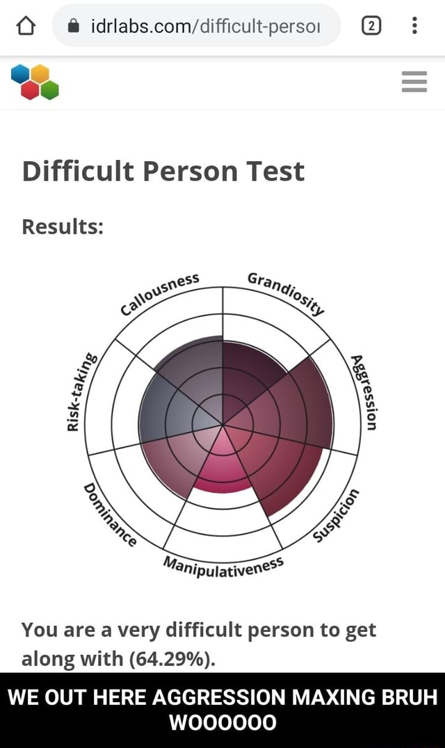Difficult Person Test Results You are a very difficult person to get along with 64.29% . WE OUT HERE AGGRESSION MAXING BRUH woooo0o  WE OUT HERE AGGRESSION MAXING BRUH WOOOOOO memes