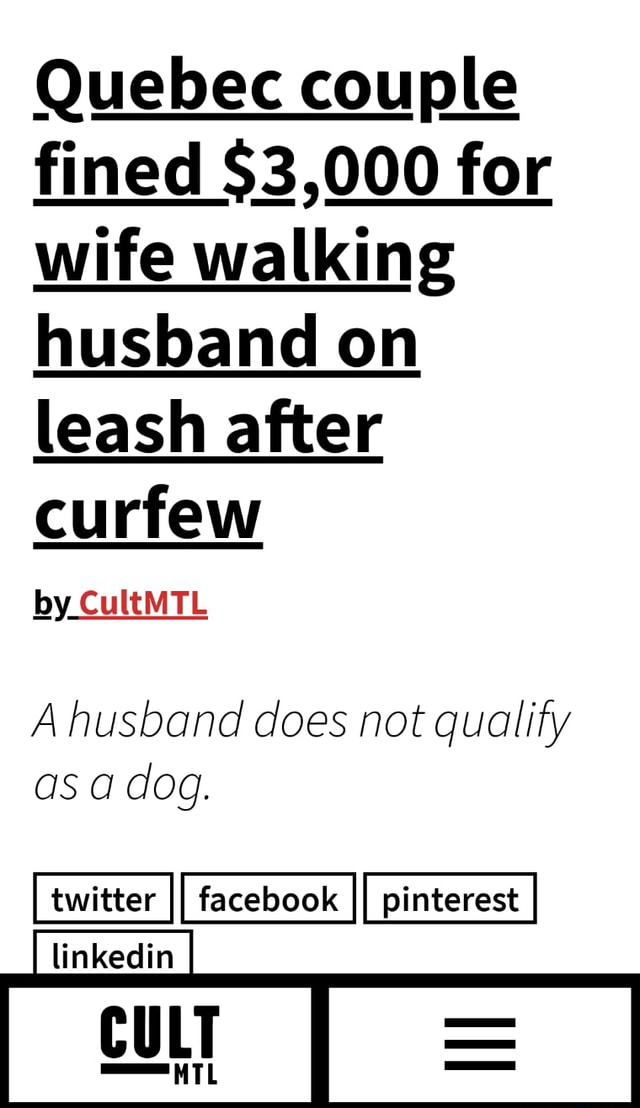 Quebec couple fined $3,000 for wife walking husband on leash after curfew by CultMTL A husband does not qualify as a dog. linkedin C meme