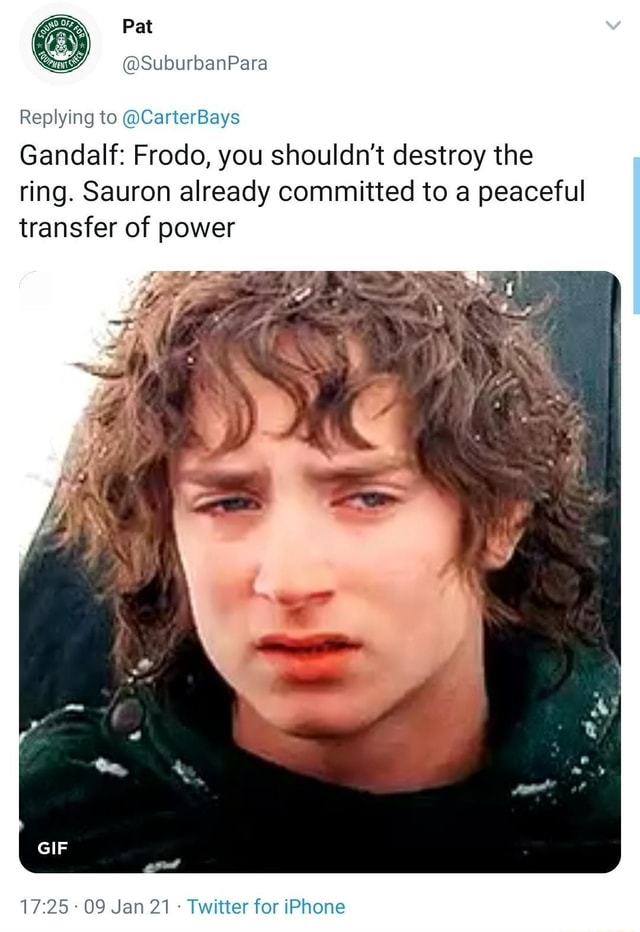 Pat SuburbanPara Replying to CarterBays Gandalf Frodo, you shouldn't destroy the ring. Sauron already committed to a peaceful transfer of power 09 Jan 21 Twitter for Phone memes
