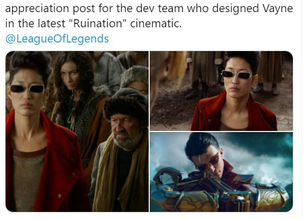 Appreciation post for the dev team who designed Vayne in the latest Ruination cinematic. LeagueOfLegends meme