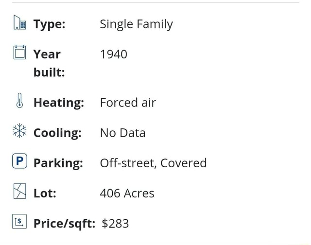 Type Year built Heating Cooling P Parking is, Lot Single Family 1940 Forced air No Data Off street, Covered 406 Acres $283 meme